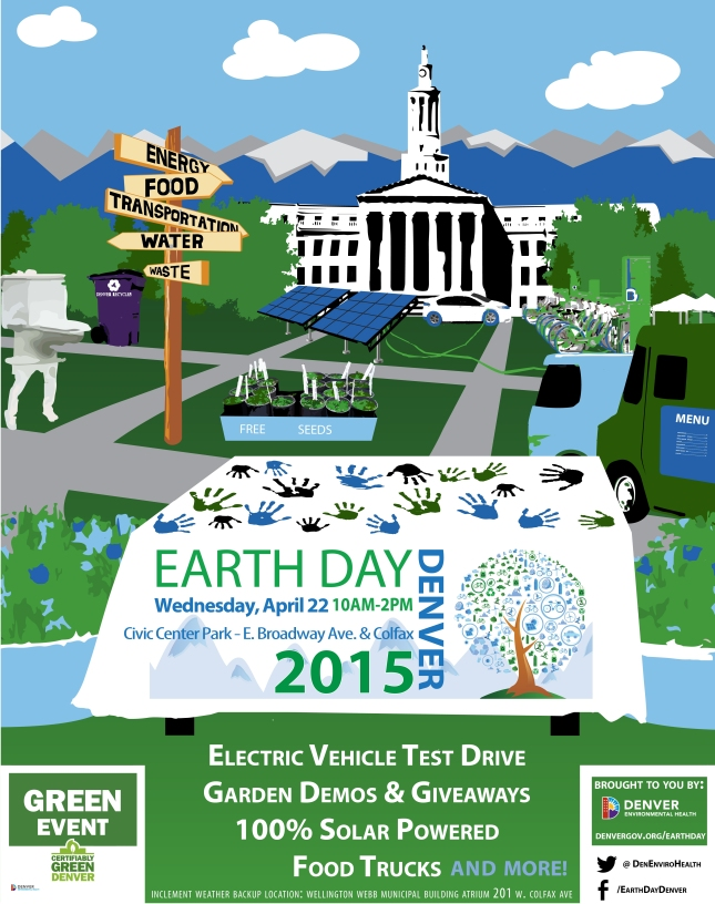 The poster for Earth Day Denver Event in Cive Center PArk on 4/22/15 10a-2p